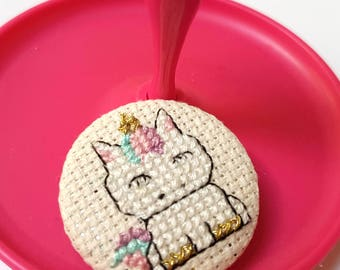 Unicorn Cross stitch pin badge -Fantasy Gift-Gift for Teen-Medieval Fair Accessories-Pingame Strong-Flair-Handmade Gift-Chubby Kawaii-Lover