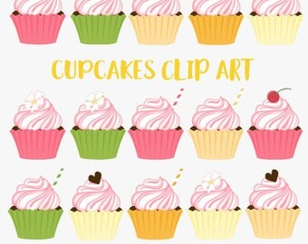 Cupcake clipart, citrus baking, kitchen baker, lemon lime, cherry frosting, chocolate topper, cupcakes clip art, pink frosted sugar  (LC31)