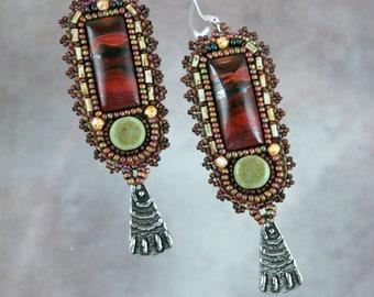 Earrings, bead embroidery, beaded,Indian Paint stone, sage,  dangle earrings