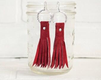 leather tassel earrings, leaf earrings, boho earrings, earrings, dangle earrings, suede earrings, handmade, tassel earrings, stacylynnc