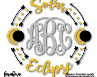 Solar Eclipse Sun Moon Monogram Wreath (monogram NOT included) SVG, EPS, dxf, png, jpg digital cut file for Silhouette or Cricut