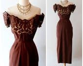 Vintage 1940's Chocolate Silk Taffeta Cocktail Dress With Illusion Bodice ~ Vintage 40s Femme Fatale Off The Shoulder Party Dress