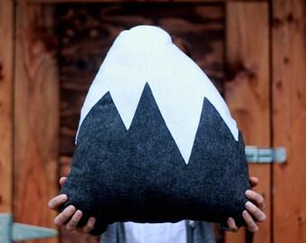 Gray, Mountain Pillow, Nursery Decor, Baby Boy, Holiday, Snowy Mountain, felt