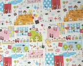 Japanese Cotton Fabric - Hello My Friends - CR4413A white, Patchwork Bear and Friends