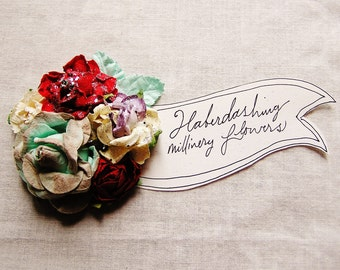 Aqua Stardust Cherry Red Lilac Cream Handmade Roses Vintage style Millinery flower corsage