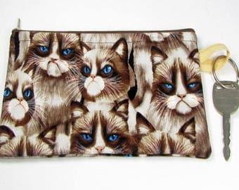 Grumpy cat, wristlet wallet, smartphone wristlet, wristlet for iphone, iphone wristlet case, cellphone wallet, wristlet keychain