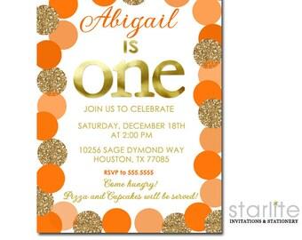 Fall 1st Birthday Invitation, Fall First Birthday Invitation, Orange and Gold Thanksgiving Birthday Invitation, Birthday Invite Printable
