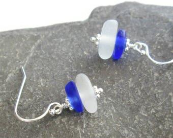 Cobalt Blue Earrings, Handmade Genuine Sea Glass Jewelry, Mermaid Tears, Beach Glass Earrings