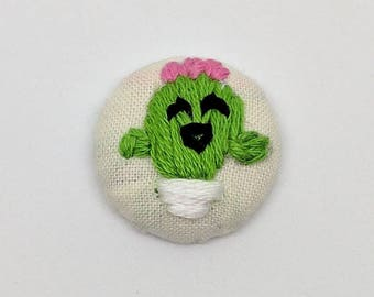 Kawaii Cactus Buddy Button Embroidery Happy Cute Smile Face Succulent Friend