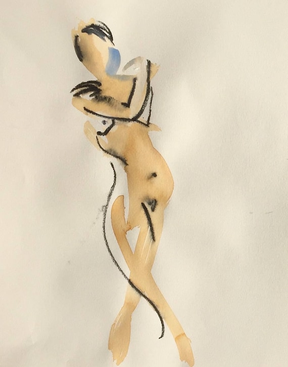 Nude painting of One minute pose 109.9 Original painting by Gretchen Kelly