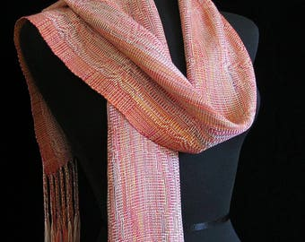 Handwoven Scarf Soft Hand Dyed Tencel Scarf Long Handmade Shawl by FiberFusion Colorful Scarf Light Weight Scarf Wrap Coral Pink - Dahlia