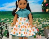 Whirlygig - circle skirt and blouse ensemble for American Girl doll with sandals