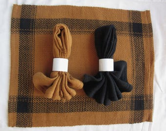 Brown and Black Handwoven Cotton Placemats