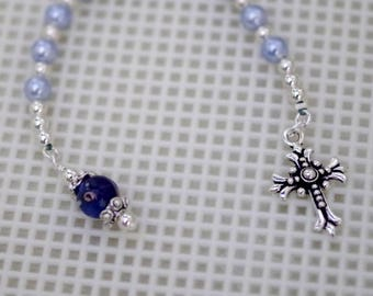 Swarovski Pearl Pocket Rosary with Lampwork Glass - Choice of Cross - Shown with Blue Pearls - Anglican or Catholic