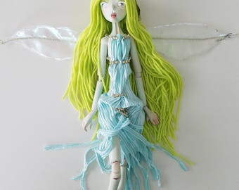 FIREFLY PHILLIPA, paper clay ball jointed fairy doll, handmade in the USA