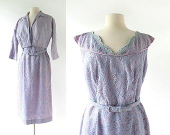 50s Cocktail Dress | Lilac Lace Dress | 1950s Dress | M L