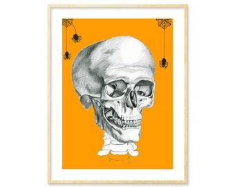 Skull Art, Spiders, Halloween Print, 8.5x11, Halloween Art, Anatomical Skull, Halloween Decor, Orange and Black, Anatomy Art, Creepy Cute