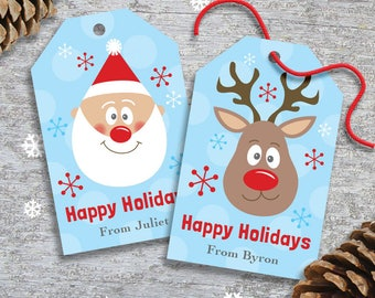 Personalized Christmas Gift Tags or Labels for Kids – DIY Printable – Santa and Rudolph (Digital File)