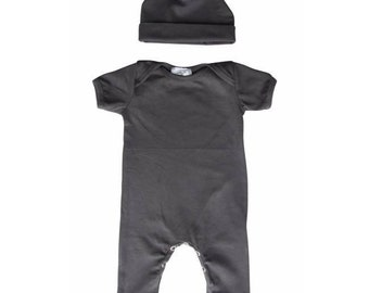 Baby Romper with Matching Hat-Charcoal