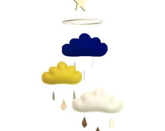Navy and gold baby mobile, navy cloud mobile, gold baby mobile, navy nursery, gold nursery, baby boy mobile, baby nursery, blue nursery,