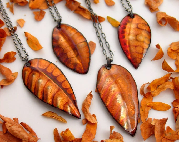 Featured listing image: Leaf Pendants in Transparent Golden Enamel, Artisan Made with Vintage Brass Chain, Hot Enamel on Copper
