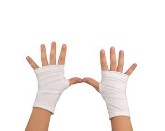 Toddler Kids Arm Warmers in Snow White - Cotton Fingerless Gloves