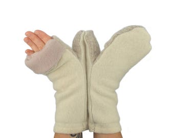 Convertible Flip Top Mittens in Cream and Wheat - Recycled Wool - Fleece Lined