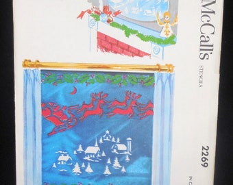 McCall's 2269 - Extremely Rare 1950s Christmas Stencils Pattern - Reindeer, Santa, Church - For Window Decoration - Xmas - UNUSED