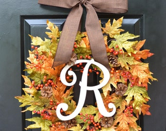 Fall Berries and Leaves Wreath, Fall Wreath, Fall Decor Monogram Wreath with Pinecones, Autumn Fall Decor, Fall Colors