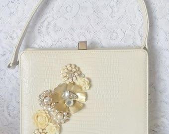 Lovely, Vintage Handbag, Creamy White, Newly Adorned with Beautiful Flowers, Wedding Handbag