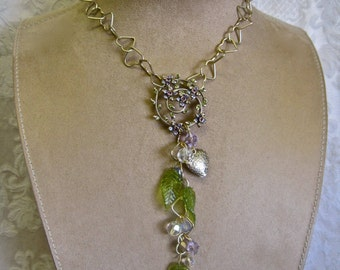 Hearts and Flowers: Y Necklace Crystals Lavender Peridot Green Romantic Vintage Assemblage Leaves Interlocked HEART CHAIN Gold Monet Brooch