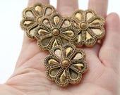 Vintage Lucite Carved Ornate Antique Gold Flower Cabs Cabochons Flatbacks 32mm (6)