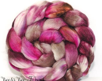 ROSES AND CHOCOLATE - Merino Silk Combed Top, Wool Roving, Wool Fiber, Handpainted Wool, Hand Dyed Roving, Spinning, Felting 4.2 oz