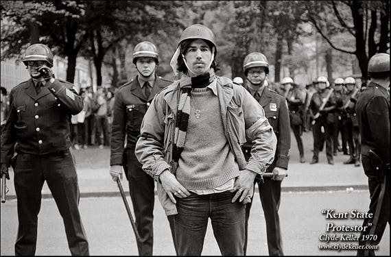 KENT STATE PROTESTOR, attack squad, Clyde Keller photo 1970