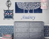 Reserved Listing- Add Small Fuchsia Flowers to Painting - Large Wall Art on Three Canvases - Indigo and Pink Tree - 50x20