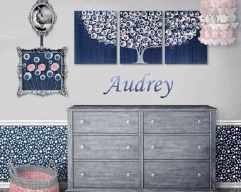 Painting for Baby Girl Nursery - Large Wall Art on Three Canvases - Indigo Blue and Pink Tree - 50x20