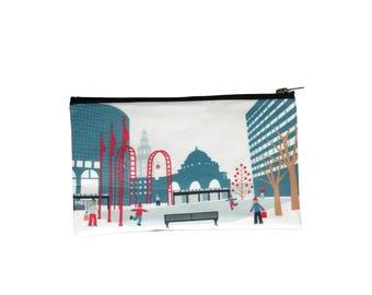 Buffalo NY main street bag, rotary rink, pouch, clutch, carryall buffalo ny gift, buffalo new york handmade gift, buffalo ny art
