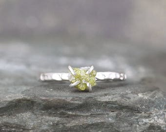 1 Carat Rough Diamond Ring - Green Tone Raw Uncut Diamond - Hammered Texture Sterling Silver Gemstone Ring - Engagement Ring - Stacking Ring