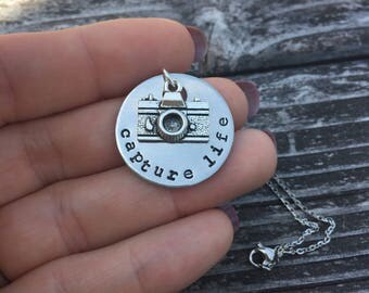 Capture Life - Metal Hand Stamped Pendant Necklace, Key Chain or Bracelet
