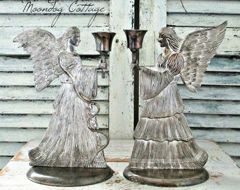 ViNTaGe SiLVeR ANGeL CaNDLe HoLDeRS - SeT of TWo