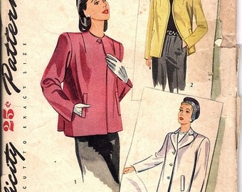 Vintage 1940s Jacket Sewing Pattern, Simplicity 1219, small