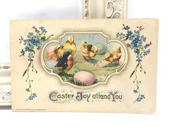 Vintage Easter Postcard, Vintage Postcard, Easter Postcard, Easter Ephemera, Easter Greetings with Baby Yellow Chicks, Winsch 1913