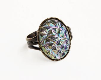 Iridescent Crystal Ring Vintage Glass Drusy Druzy Ring Vintage Iridescent Grey Gray Glass Ring AB Sugar Stone Jewelry