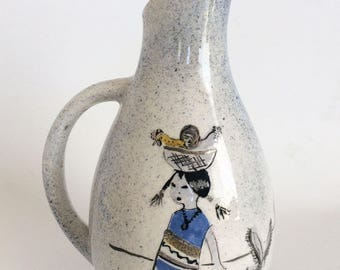 Mexican Art Pottery, Small Vintage Ceramic Vase/Pitcher