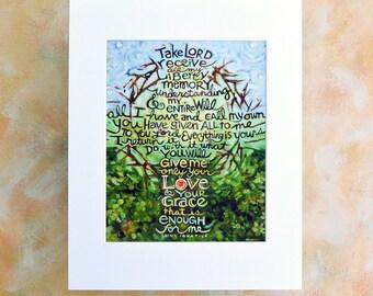 Take Lord Receive Art Print, Suscipe prayer of Saint Ignatius, Confirmation gift