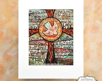 Holy Spirit Prayer of St. Augustine, Confirmation gift, RCIA gift, Cross art