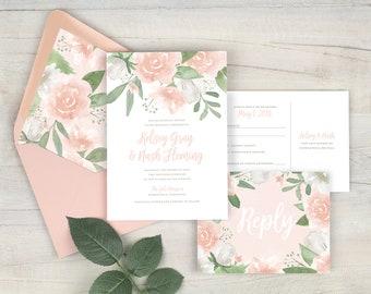 pink wedding invitations pink floral wedding invitation suite watercolor floral blush invitation romantic wedding printed invitations