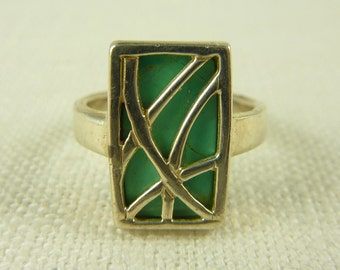 Size 6.25 Vintage Sterling and Turquoise Enamel Overlay Ring