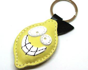 Leather Keychain Yellow Lemon - FREE Shipping Wordlwide - Lemon Leather Bag Charm Fruit Lover Gift For Him Lemon Gift Ideas Mens Keychain