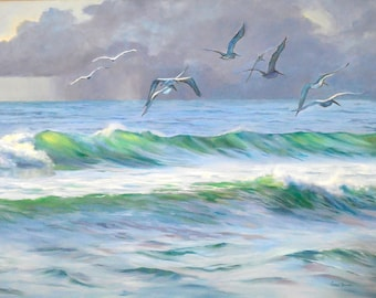 Seascape Painting, Storm's Coming, Giclee Print on Stretched Canvas from Original Oil Painting